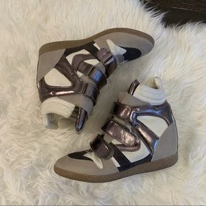 Metallic gray silver Velcro wedge sneakers shoes